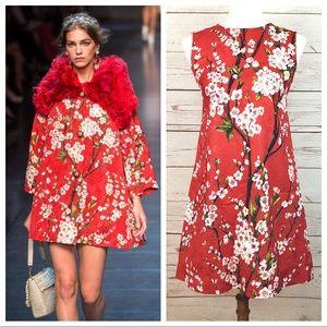 Dolce & Gabbana Red Cherry Blossom Shift Dress